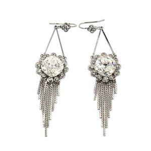 Noble pendant sunflower crystal tassel earrings